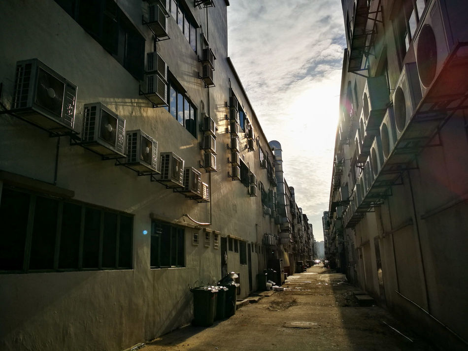 Architecture Building Exterior Built Structure The Way Forward Diminishing Perspective Narrow Sky Day Vanishing Point In A Row Outdoors Tall - High Long No People Cloud - Sky Footpath Building Story City Life Old Town Alley