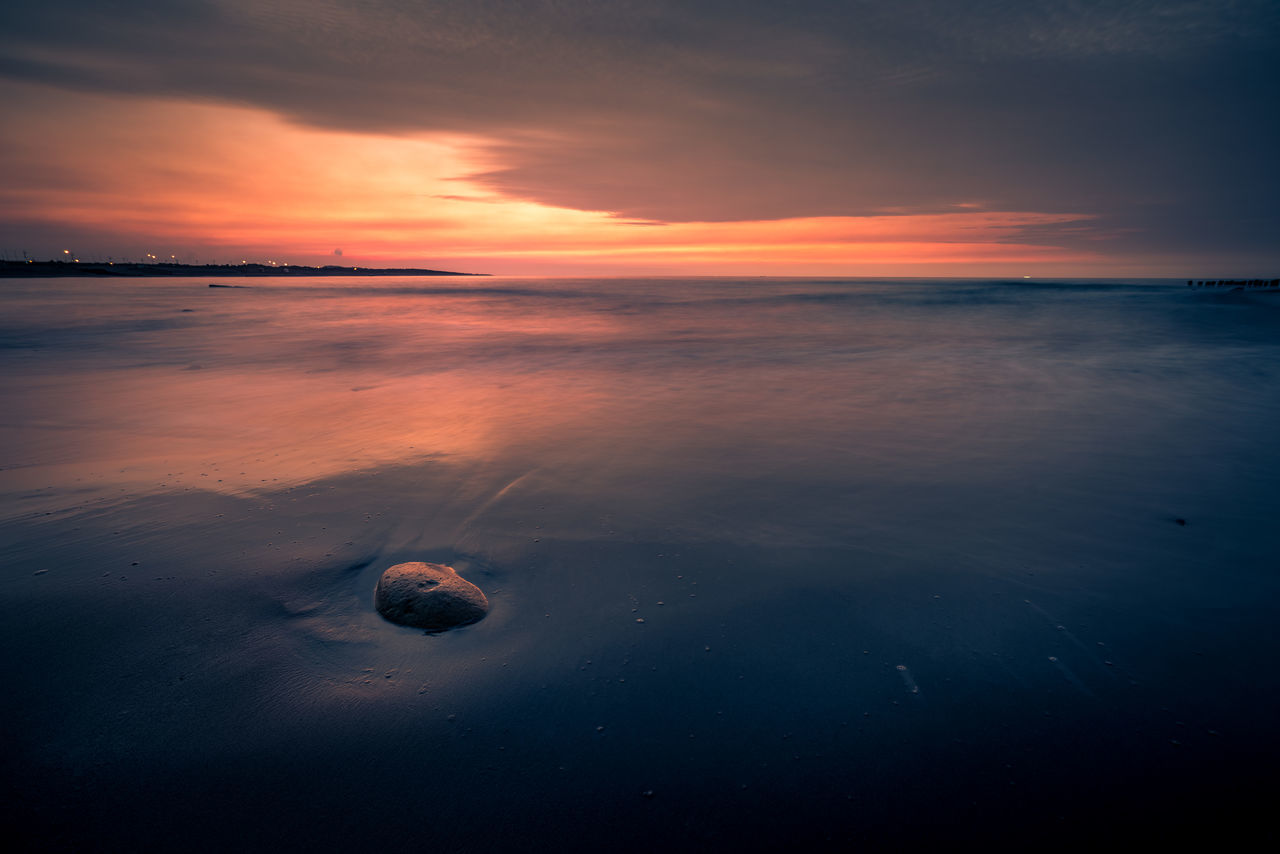 sunset, beauty in nature, nature, orange color, scenics, tranquility, water, tranquil scene, sea, sky, beach, outdoors, no people, horizon over water, day