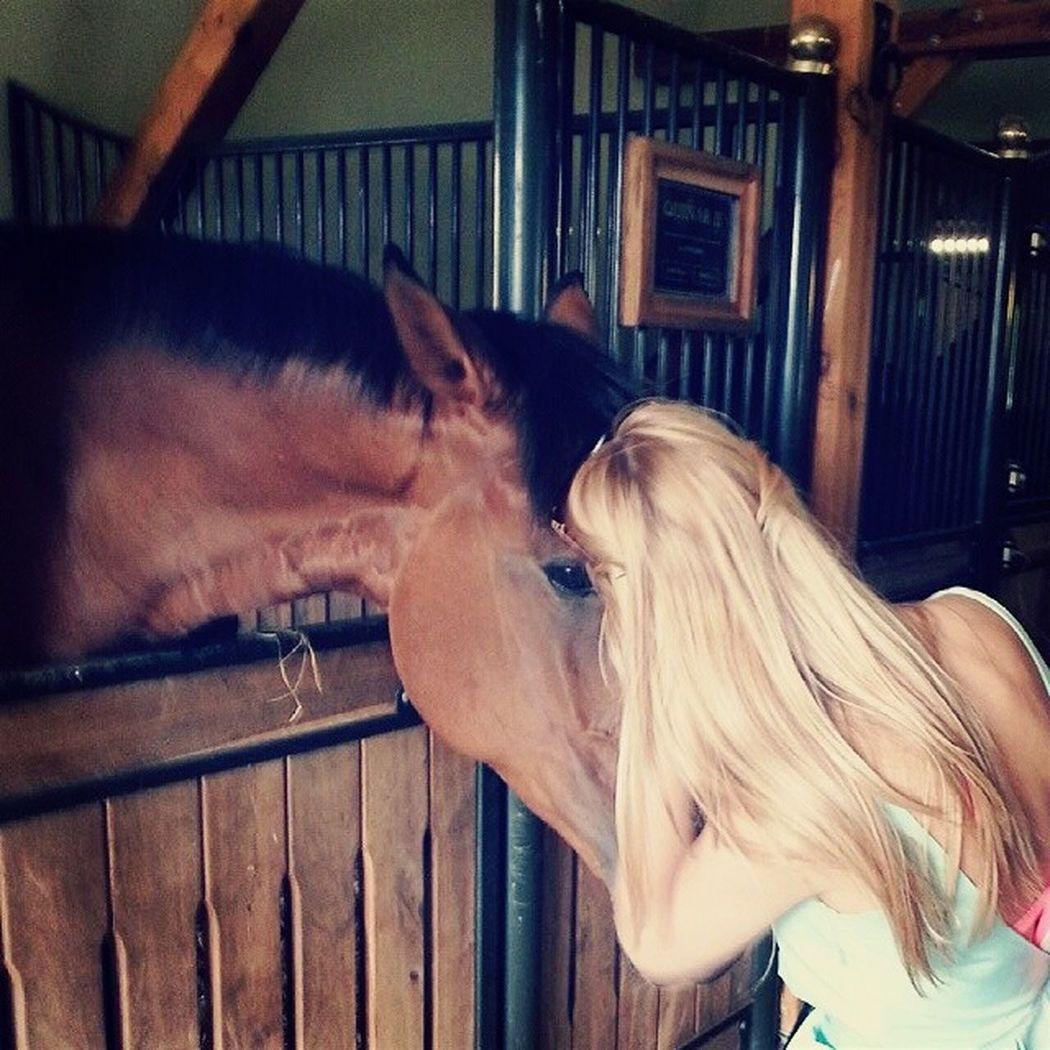 Pretty♡ Blonde Girl Polishgirl Horse Horse <3 Horse Riding Horse Love Mintdress Pinkbikini Boszkowo Kalumet
