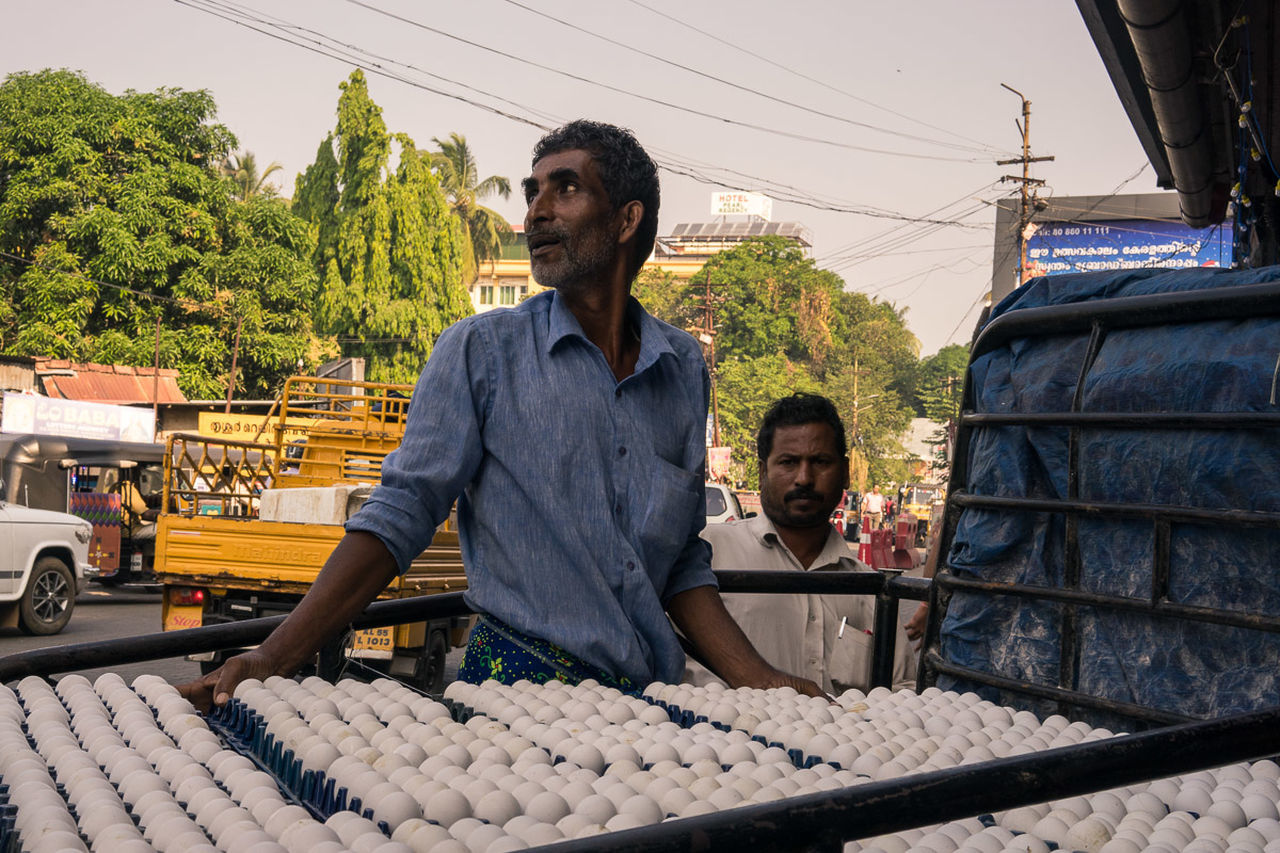 Egg Vendor Cochin Day Egg Man India Indiapictures Kerala India Kerala The Gods Own Country ;) Kollam Market Men Only Men Outdoors People Real People Street Photography Streetphotography Thrissur Waist Up