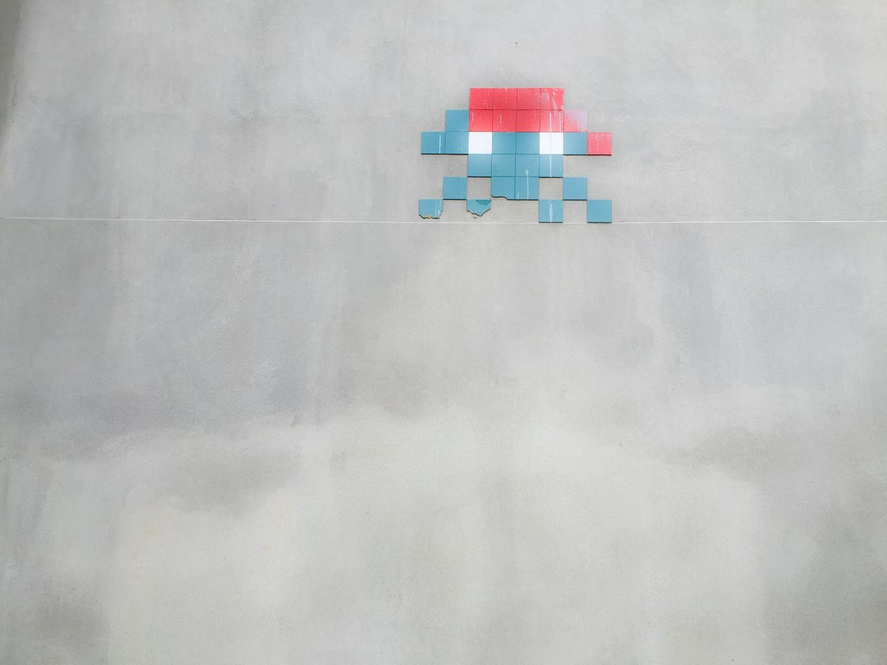 Just one example of the inventive street art you find tucked away in London's backstreets. Space Invaders Retro Computer Games Tiles Street Art Huge Canvas Grey Wall Backstreets & Alleyways Arcade Games Don't Get Shot Here Belongs To Me