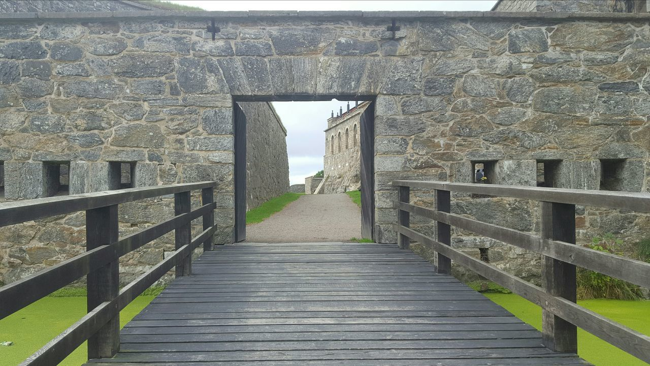 Moats Surrounding The Old Castle Walls Green Water Bailey  Sky And Clouds Island Granite Stone Prison Defense History Historic Building Sweden The Way Forward Railing Steps Built Structure Architecture Staircase Outdoors Day Sky Diminishing Perspective