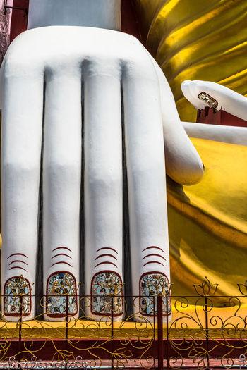 Bago, Myanmar hand of Buddha at Kyaik pun Buddha. Ancient Archaeology Architecture ASIA Bago BIG Buddha Buddhism Culture Exterior Famous Hand Kyaik Pun Pagoda Landmark Landscape Myanmar Pagoda Place Praying Religion Statue Stupa Temple Travel Worship