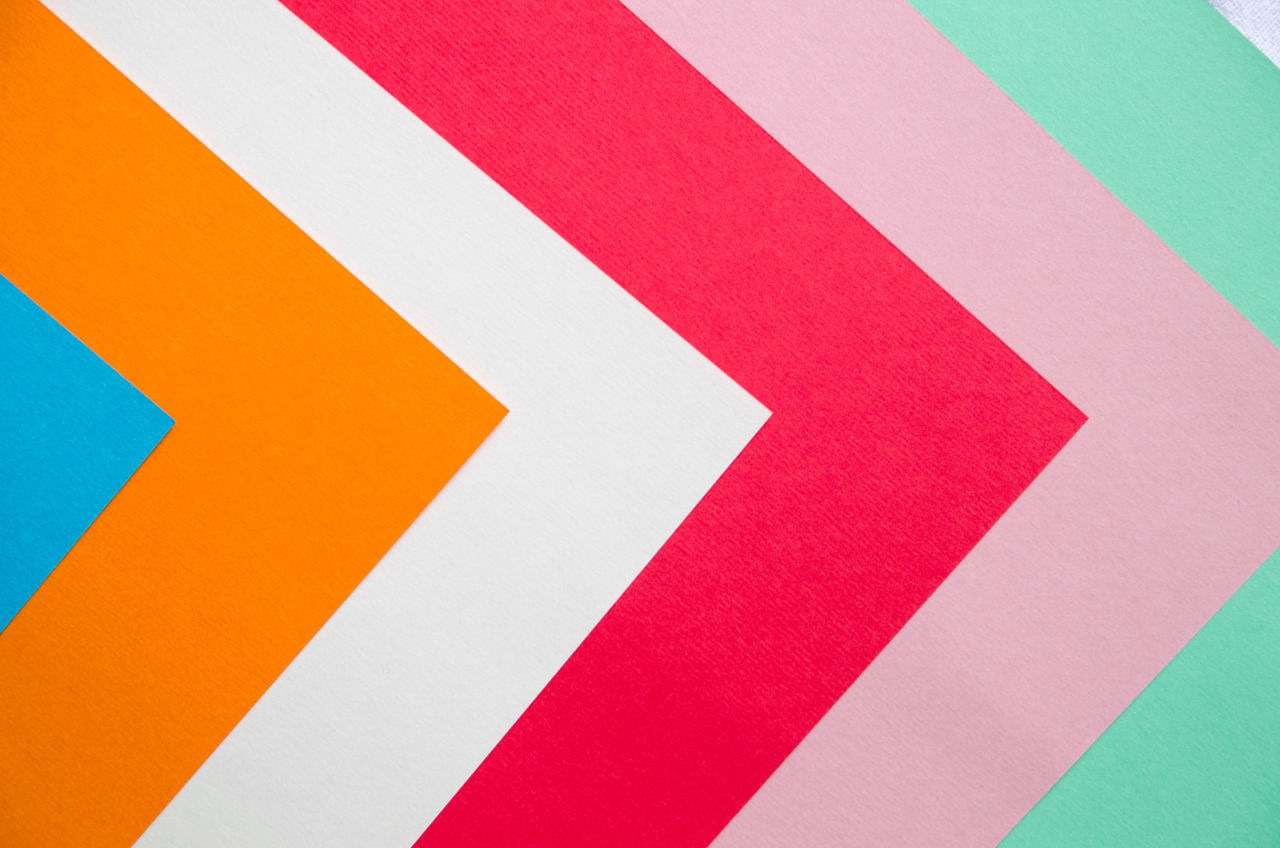 Above Abstract Arrows Backgrounds Close-up Color Colorful Contrast Copy Space Forward Movement Full Frame LINE Multi Colored No People Paper Papercraft Red Textured  Textures And Surfaces
