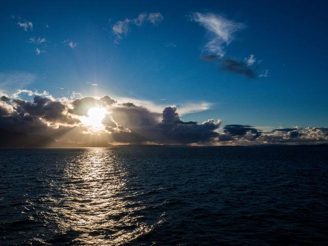 Arran  Beauty In Nature Dramatic Sky Horizon Over Water Isle Of Arran  Ocean Outdoors Reflection Scenics Scotland Sea Sky Sun Sunbeam Sunset Tranquil Scene Tranquility Water