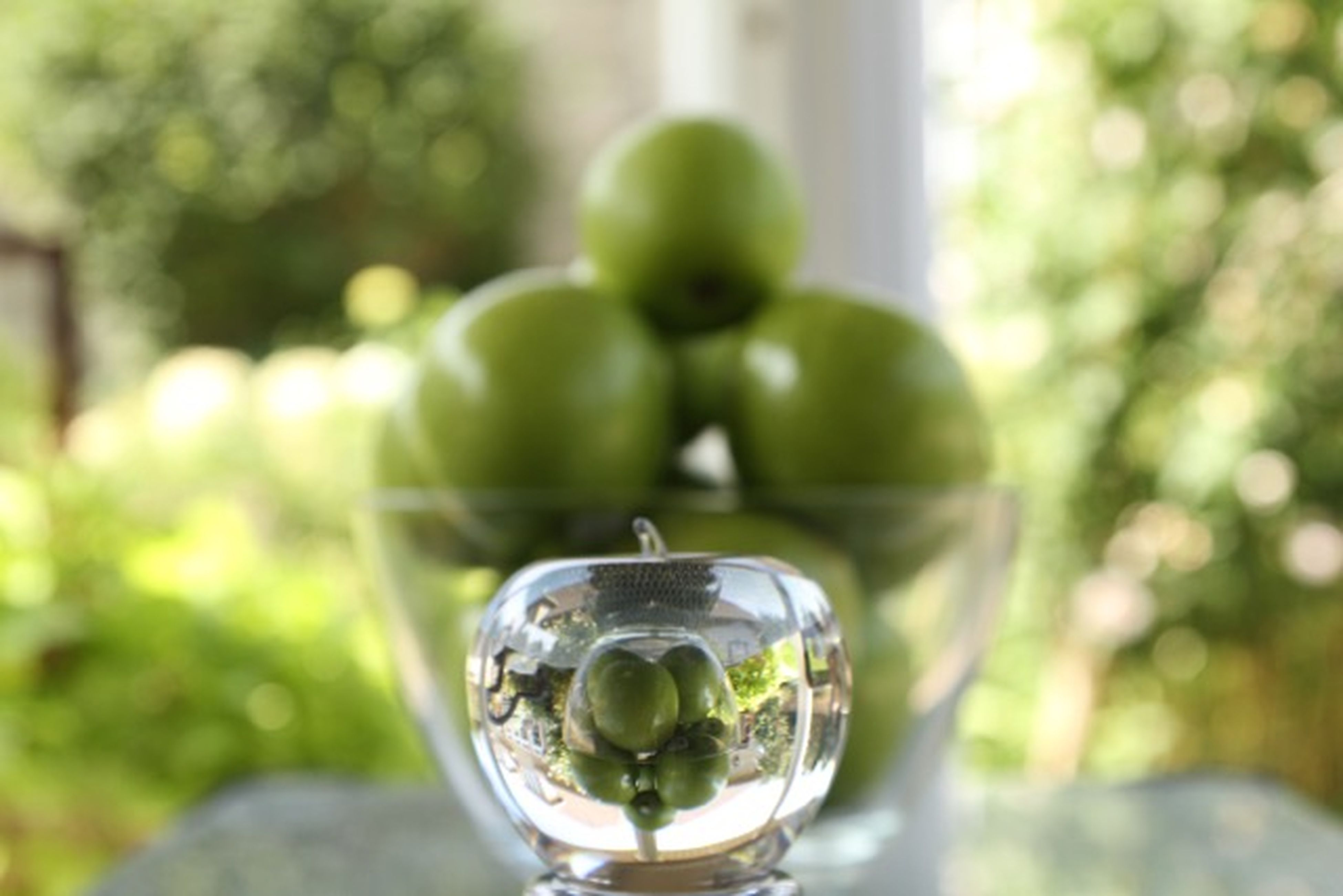 glass - material, transparent, focus on foreground, close-up, indoors, green color, fragility, freshness, glass, drinking glass, table, still life, selective focus, wineglass, plant, vase, reflection, growth, refreshment, water
