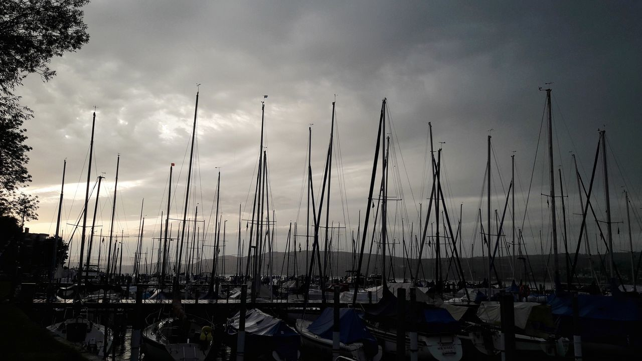 Nach dem Gewitter Sunset Nautical Vessel Outdoors Tranquility Sky Night Harbour Harbor Marina Sailing Boats Sailing Masts Silhouette Evening Evening Sky Dramatic Sky Watersports Lake Constance Travel Destinations Summer No People Nature Patterns Nautical Nautical Theme Holidays