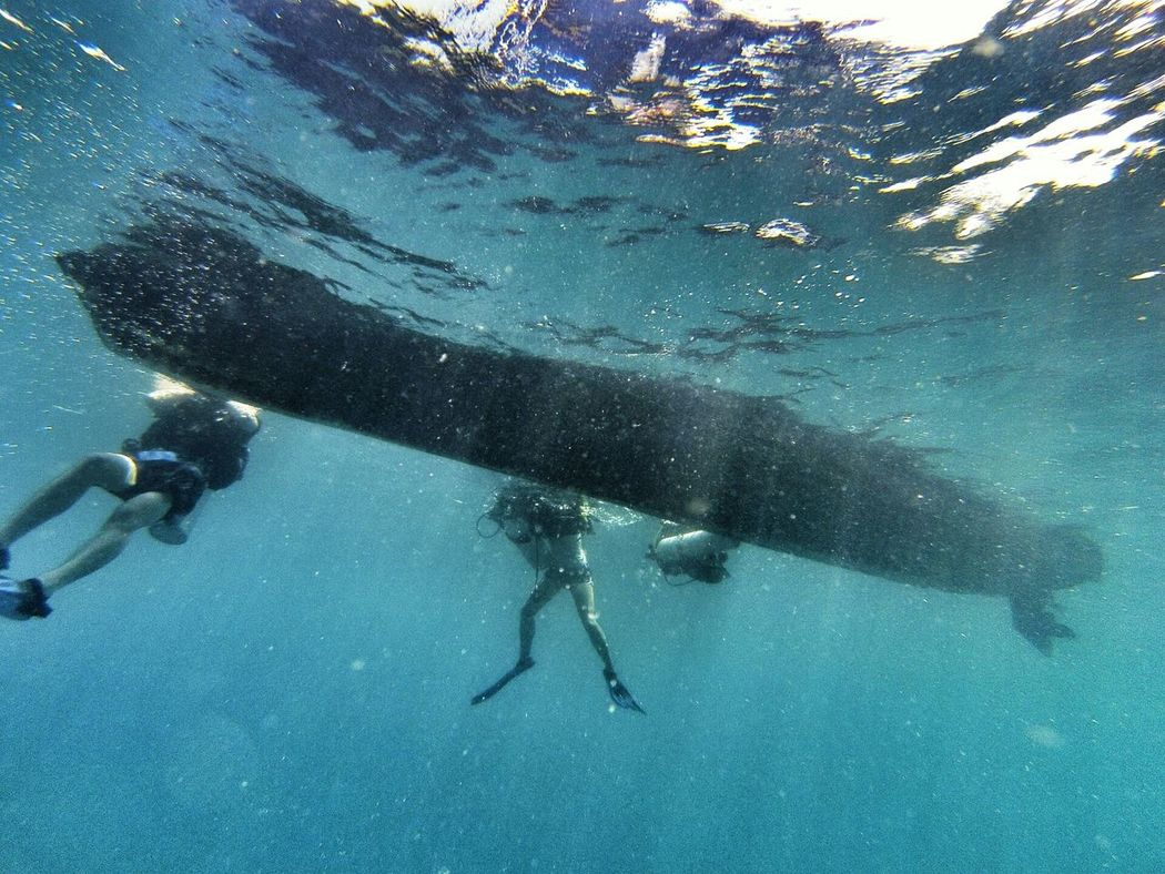 under the Boat @ Sugar Wreck, Turtle Bay Divers pulau Perhentian