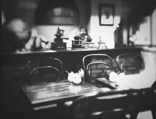 Blackandwhite Taking A Break Old Coffee House