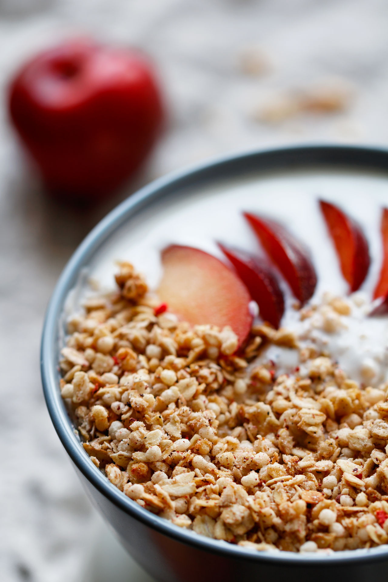Breakfast Cereal Close-up Food Food And Drink Healthy Eating Healthy Food Milk Morning Plum Ready-to-eat Selective Focus Table