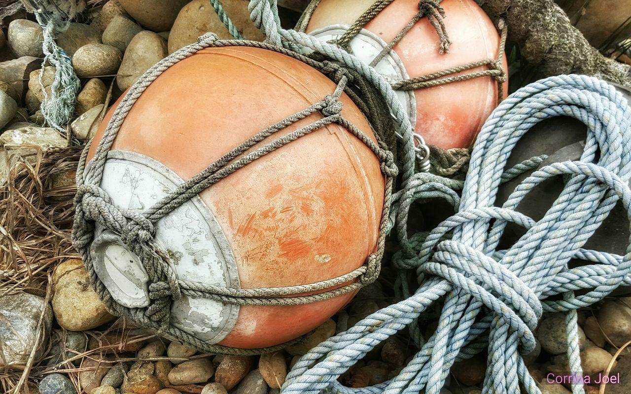 Orange Buoys. Smartphonephotography Ocean Shores Snapseed Editing  Buoys Buoy Old Buoys Rope Orange Ropes Taking Photos