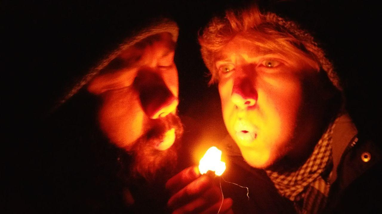 Night Coals Heat - Temperature Flame Glowing Dark Human Face Adult People Burning Coals Blowing Coals