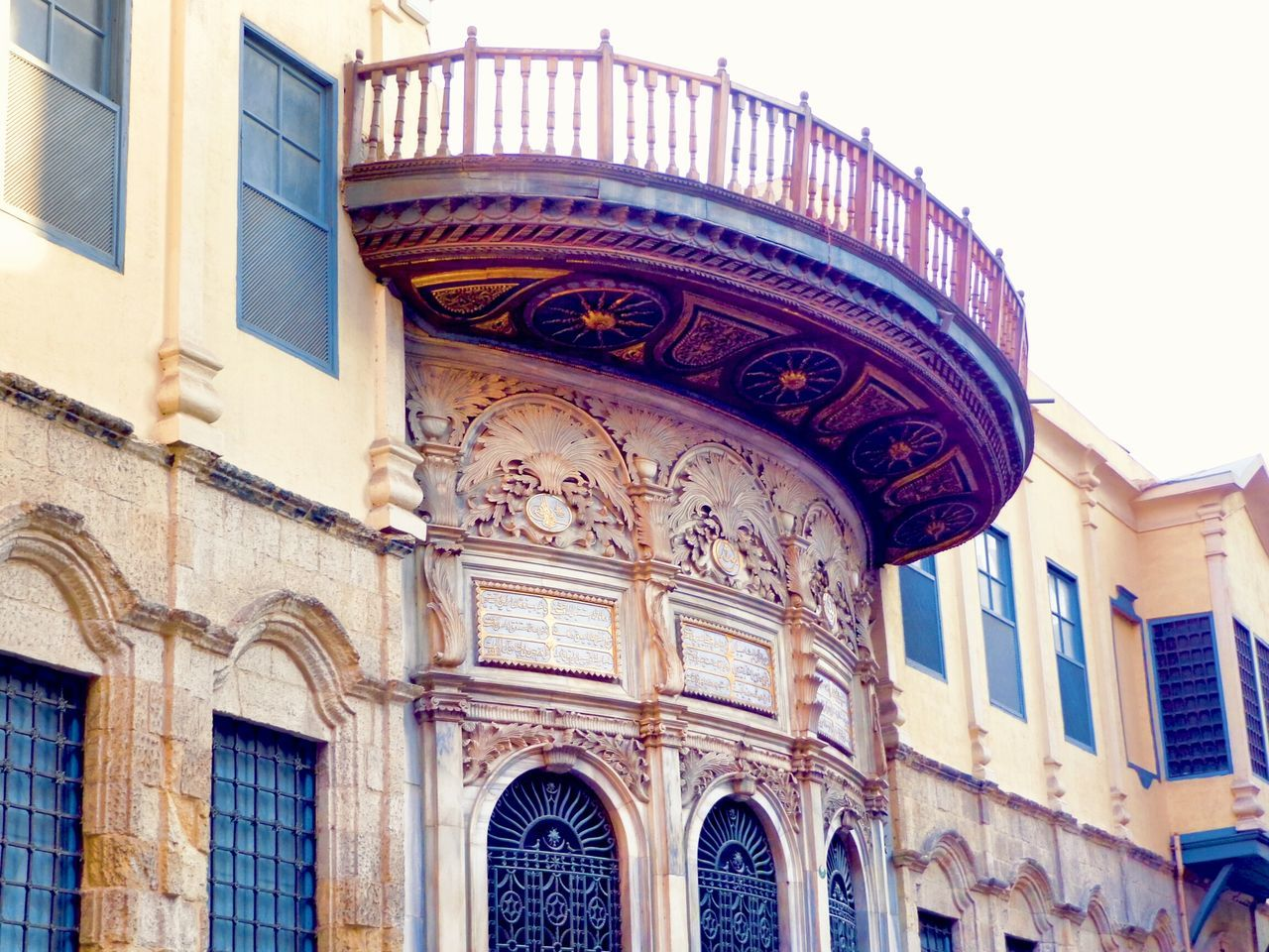 Sunlight Fatimid Cairo Al-moez Street Islamic Art Charm Gold Colored Building Exterior Travel Destinations Full Length Close-up History Islamic Cairo City Built Structure Architecture Sky Islamic Architecture Historical Place