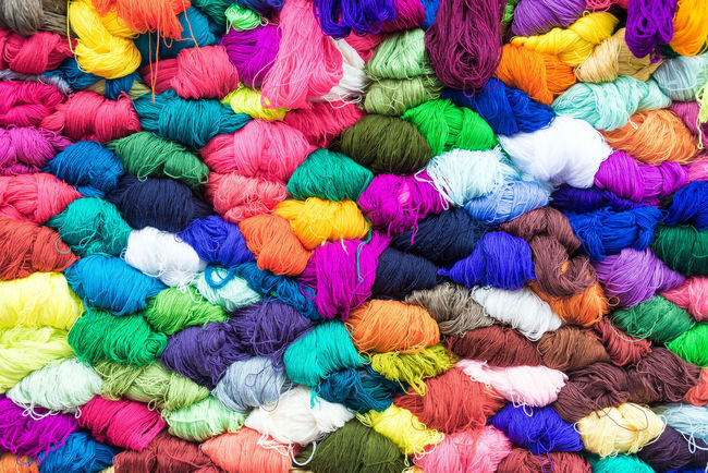 Colorful yarn for sale in the famous market in Otavalo, Ecuador Alpaca Background Blankets Bright Cloth Color Colorful Craft Design Ecuador Fabric Indian Indigenous  Llama Market Native Otavalo Otavalo, Ecuador Pattern South America Textile Thread Traditional Wool Woven