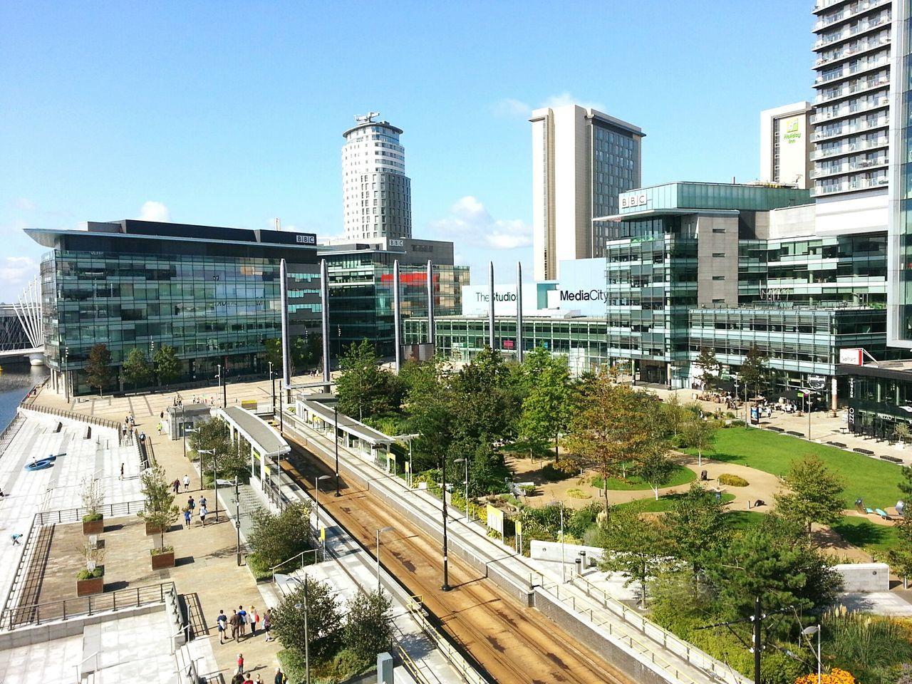Mediacityuk Salford Quays Manchester - Salford Quays Buildings BBC Building And Sky Buildings & Sky Tram Gardens