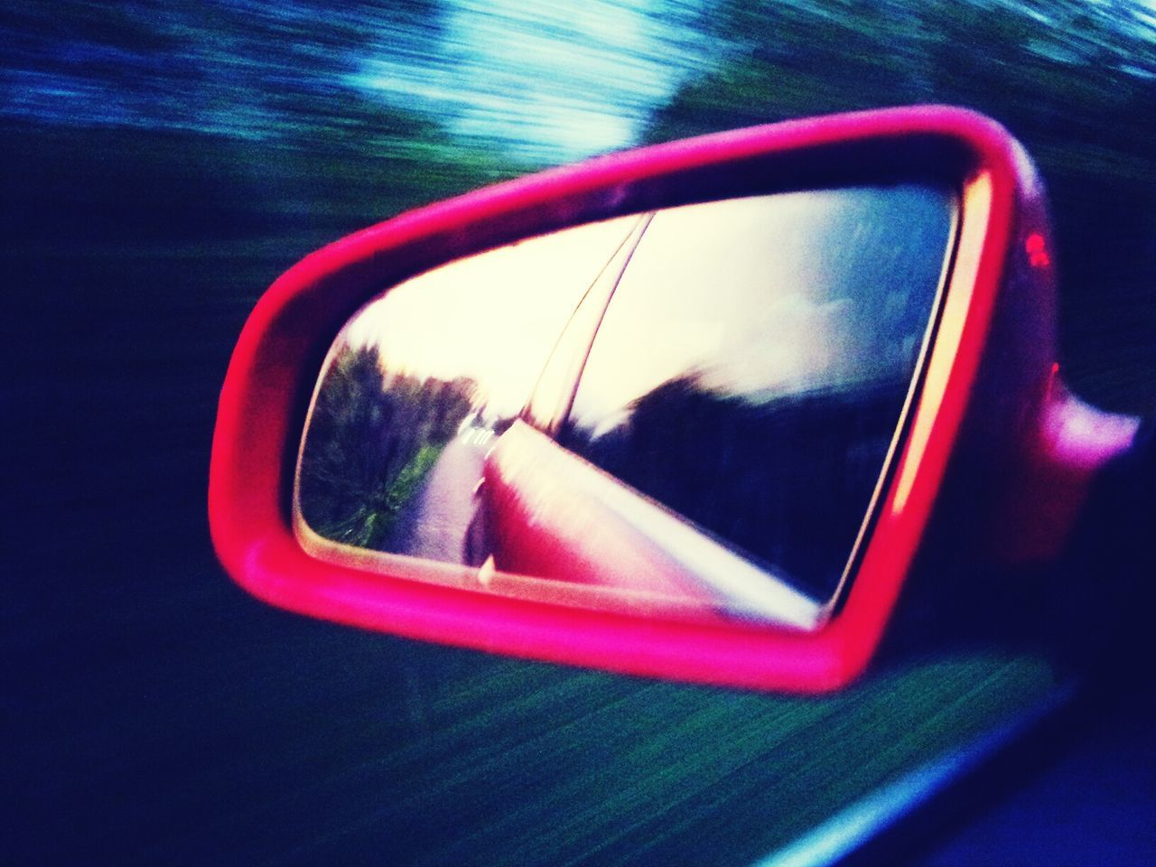 side-view mirror, transportation, car, reflection, land vehicle, road, mode of transport, no people, vehicle mirror, car interior, day, close-up, road trip, outdoors, water, nature, tree, sky