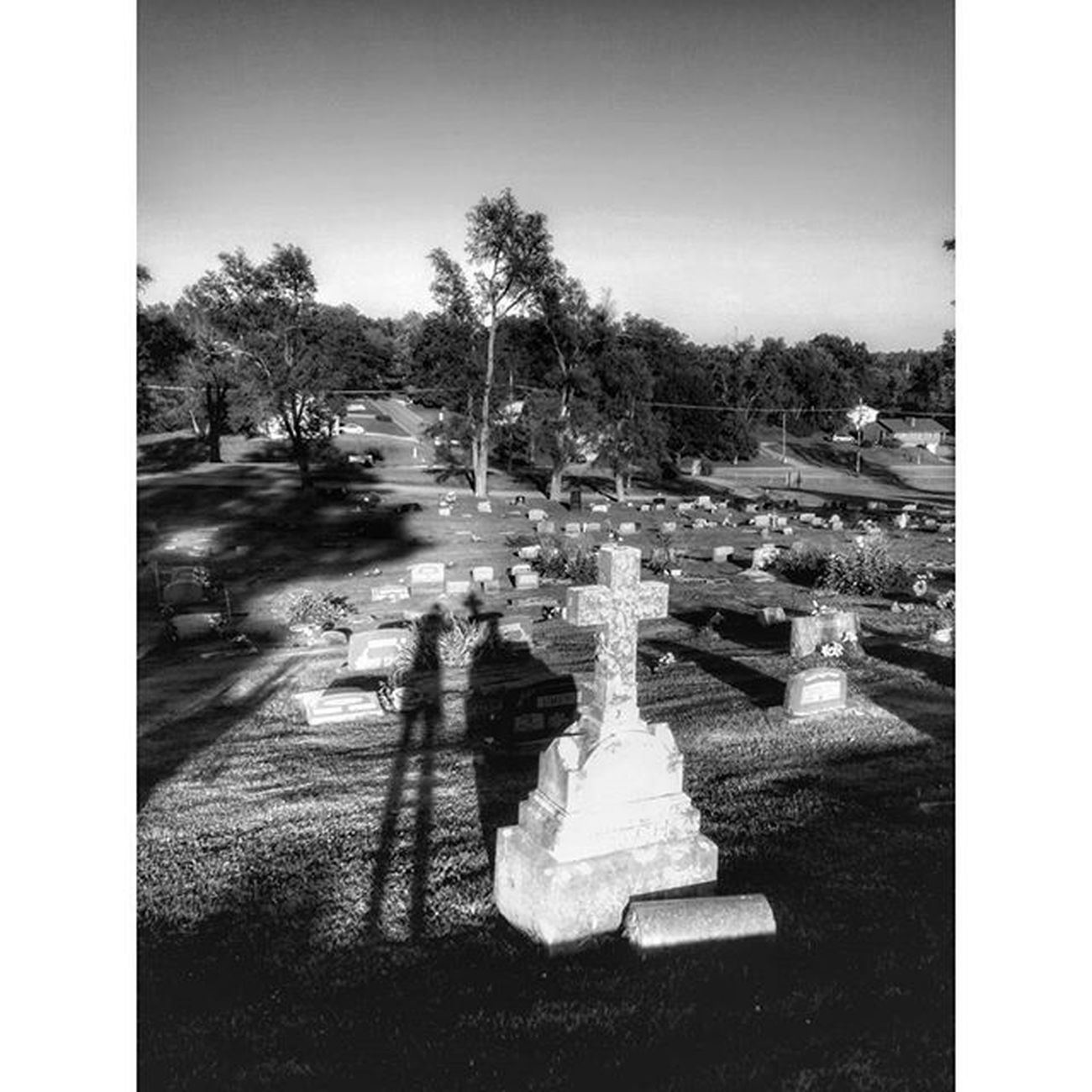 Shadow fun..... Ks_pride Ipulledoverforthis Kansasphotographer Kansasphotos Graveyard_dead World_bnw Bnw_life Bnw_sunset Bnw Bnw_captures