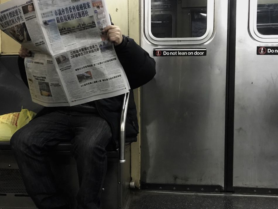Good morning. Train - Vehicle Public Transportation Transportation Passenger Mode Of Transport One Person Men Passenger Train Real People Subway Train Rail Transportation Sitting Indoors  Standing Commuter Train One Man Only Day Adult People Adults Only Newspaper