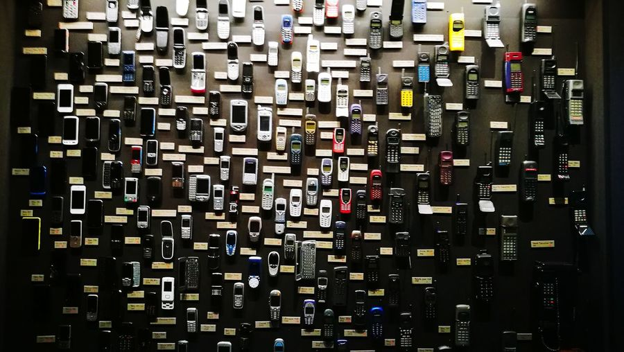 No People Close-up Indoors  Electronic Mobil Phone Mobil phone wall Decades Of Cellphone Wall of mobilphone