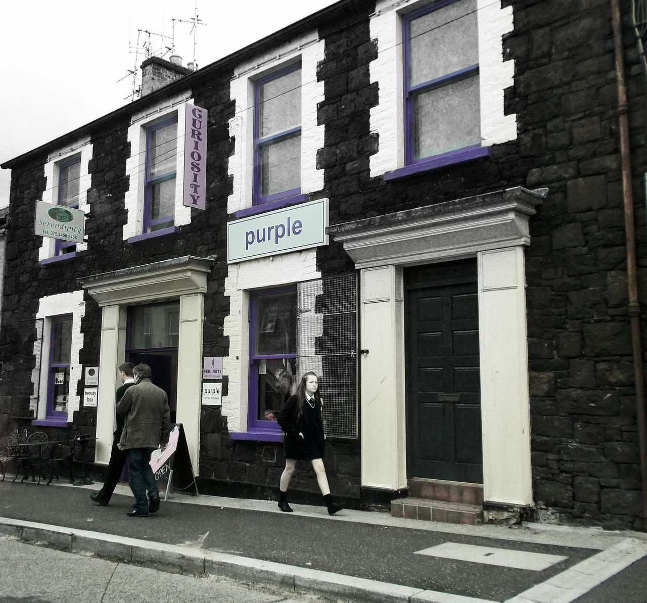 Purple serendipity... Travel Travel Photography Ontheroad Ireland PassingBy Catch The Moment Serendipity Purple Color People Walking  Contrast Black And White Photography Colour Of Life Love People And Places