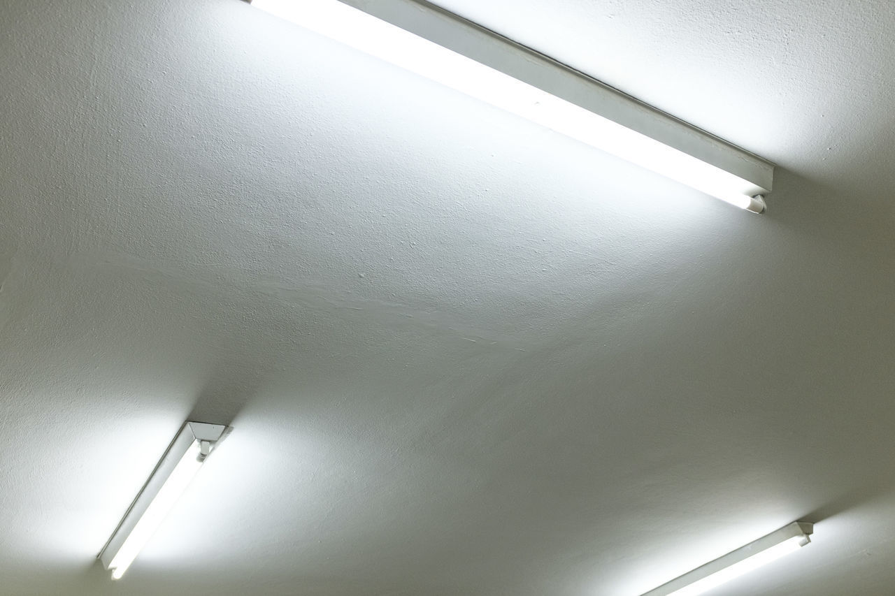ceiling, illuminated, lighting equipment, indoors, low angle view, no people, built structure, architecture, close-up, day
