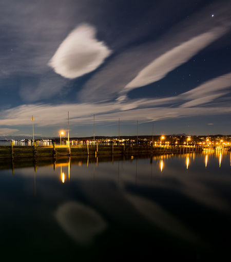 Blaue Stunde Clouds Constance Full Moon Konstanz Germani Lake Constance Lights Long Exposure Moon Night Photography Nightphotography Reflex Water