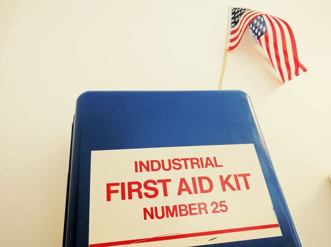 Industrial First Aid Kit USA Us Flag Office
