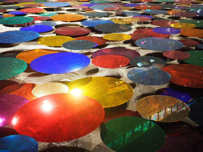 Reflection Backgrounds Close-up Day Floor Full Frame Large Group Of Objects Layers Multi Colored Mushroom No People Outdoors Perspectives Playground Variation