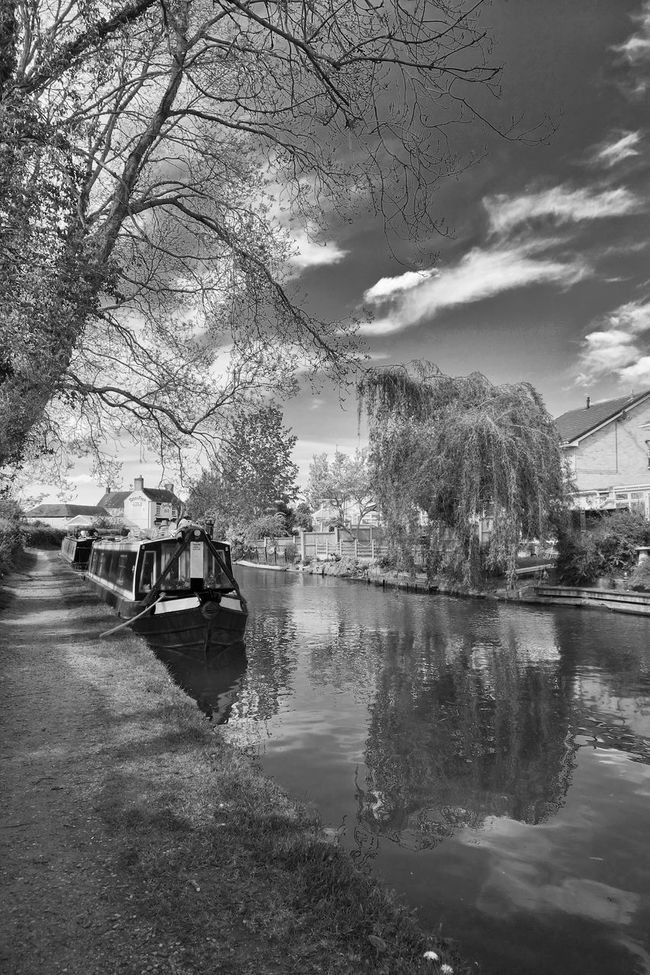 Canal Barge Blackandwhite Black&white Canal Life Canal Barge Tree