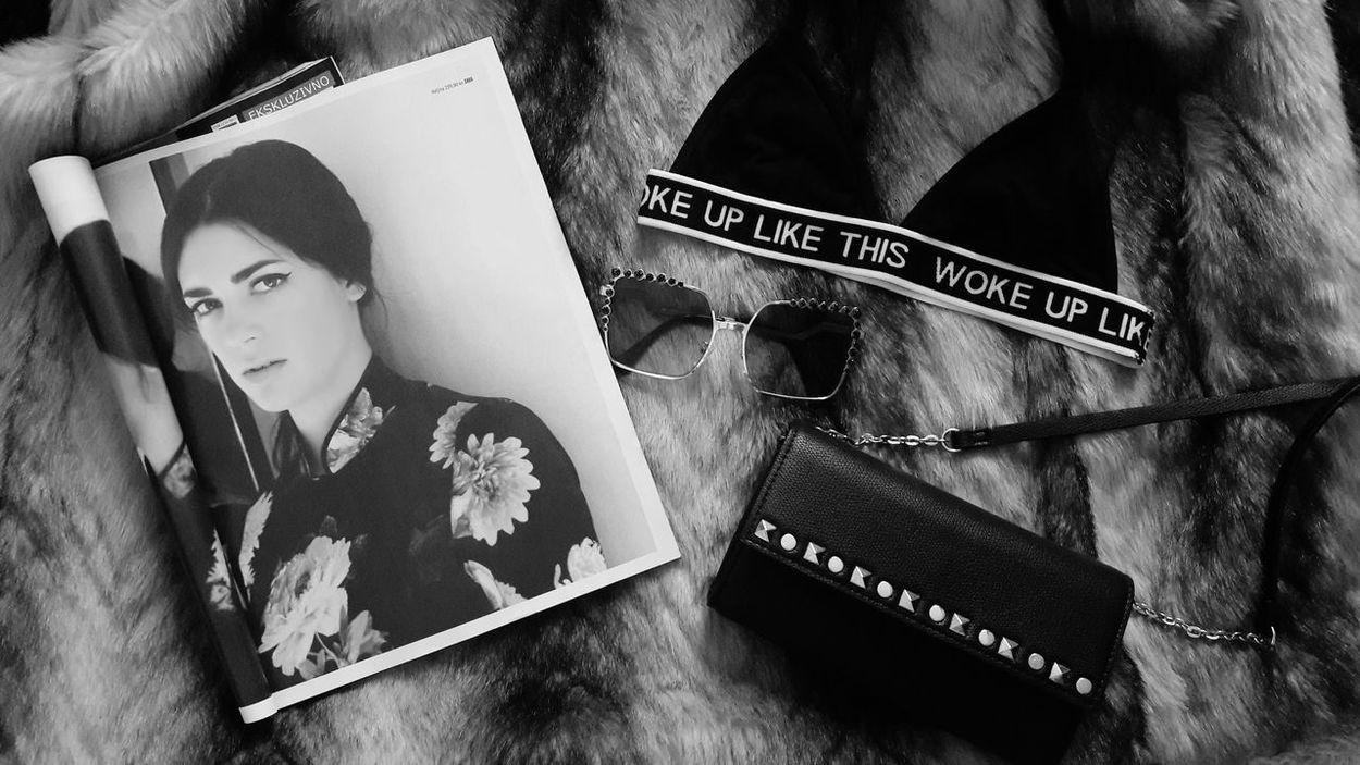 ___social media___ Magazine Bra Bag Sunglasses Morning Love Fashion Lifestyles Black And White Croatia Autumn Croatia Girl Beauty Indoors