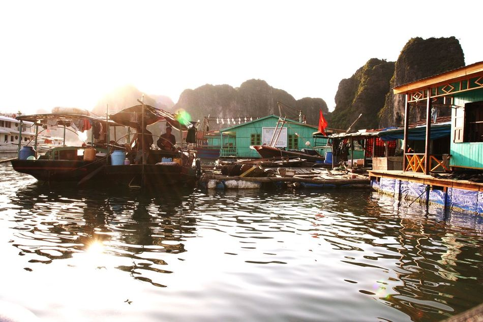 Floating fishing village at Halong Bay Fishing Village Halong Bay Vietnam Fisherman Water Vietnam Non-urban Scene No People Floating Village Sea Halong Halongbay Halong Bay