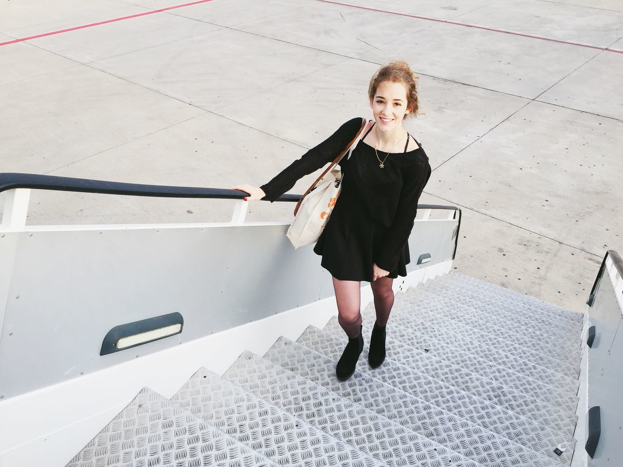 Traveling At The Airport Airport Airplane Travel Travelling Stairs Girl Boarding