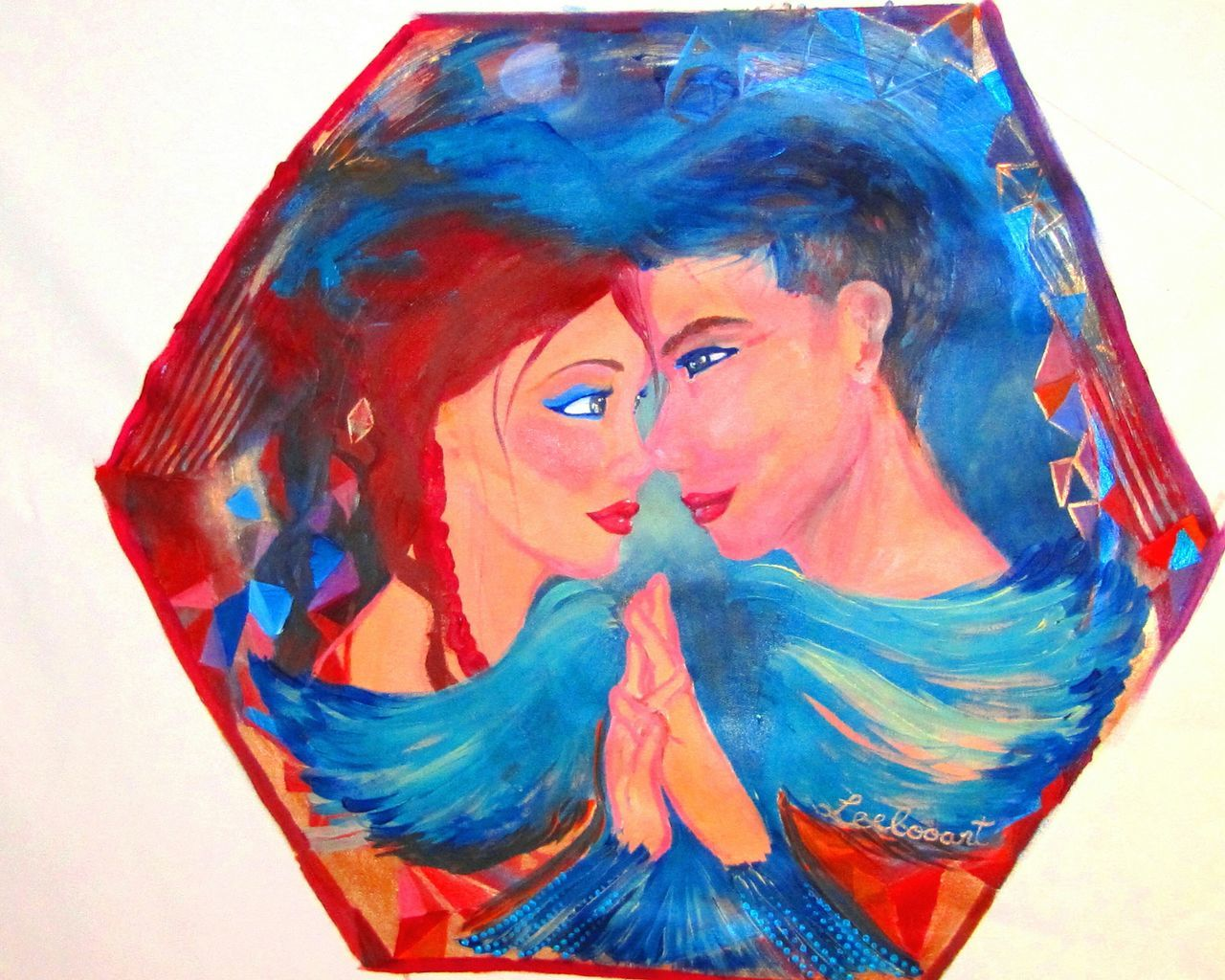 "Titre : "" Harmonie "" / "" Harmony "". L'oeuvre original a été exposé à Miami avec le Show de Bola - curatrice Leda Maria Prado. Leelooart.ca Multi Colored Smudged Horizontal Only Women Adult Young Adult Young Women People Person Human Body Part Day Leelooart Beautiful Woman Love Is In The Air Lovecouple Lovecouple Contemporary Art Acrylic Painting Fine Art Painting Fineart Acrylic Contemporain Romantic Sky Contemporary Couple"