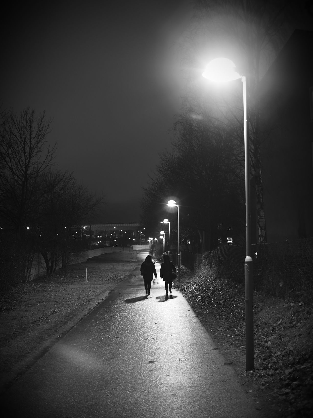 Walking in the night Street Light Sky Tree Illuminated Outdoors Rear View Real People Road Night The Way Forward City Unrecognizable People Blackandwhite Black And White Black & White Monochrome