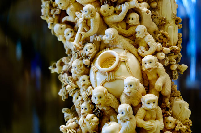 A fine mammoth tusk carving of the monkey king Art Carved Carving - Craft Product Close-up Collection Focus On Foreground Fragility Ivory King Mammoth Man Made Object Monkeys No People Sculpture Tusk