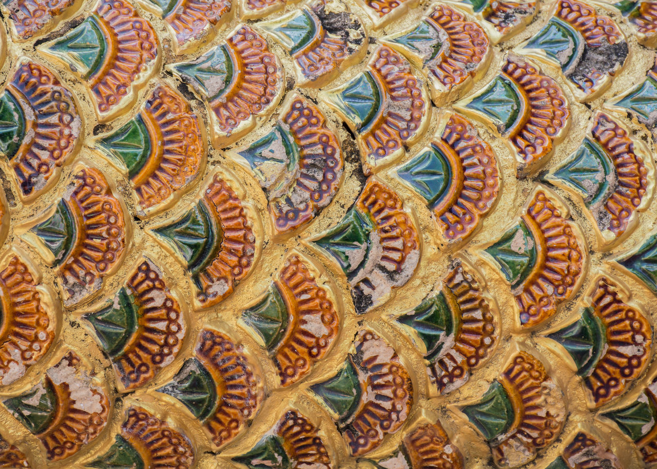 Antique Colorful Culture, Texture Thai, Thailand Ancient Animal Architecture Art ASIA Backgrounds Close-up Day Design Full Frame Gold Multi Colored No People Pattern Scale  Vintage