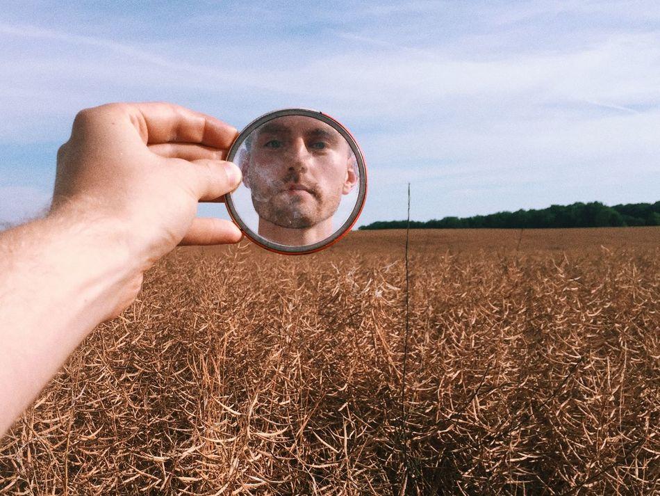 in the wheat fields Hand Mirror Morning Summer Wheat Field
