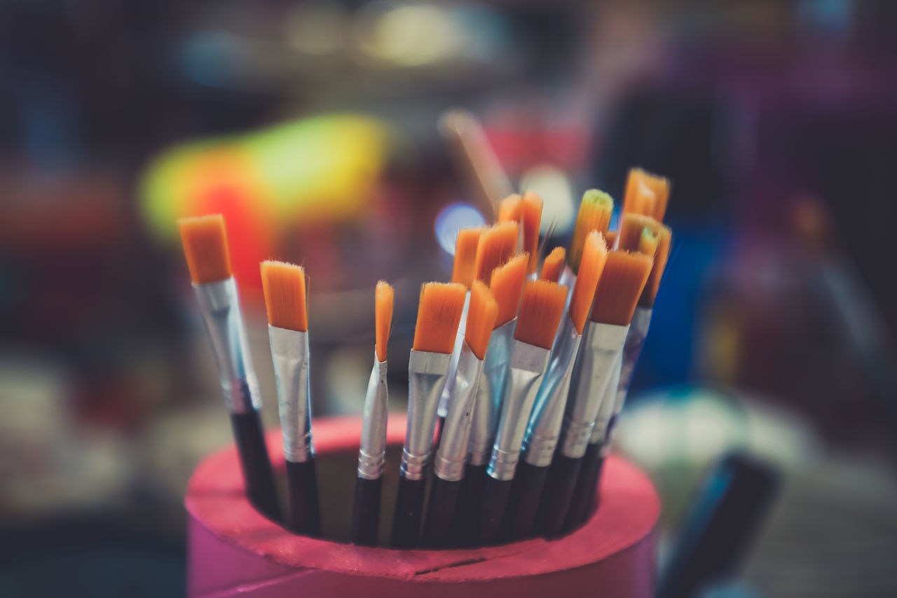 Brush Brushes Close-up Day Desk Organizer Focus On Foreground Indoors  Large Group Of Objects No People Paint