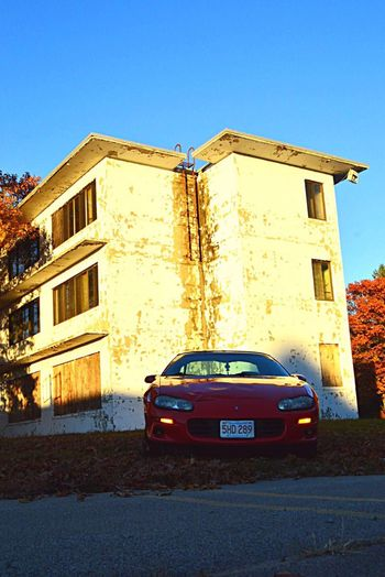 Photoshoot Building Exterior Architecture Car Clear Sky Blue Outdoors Nature Abdoned Bildung Cars Sportscar American Muscle Camaro Chevy Chevorlet Car Porn Photography Photoshoot Beautiful Beauty