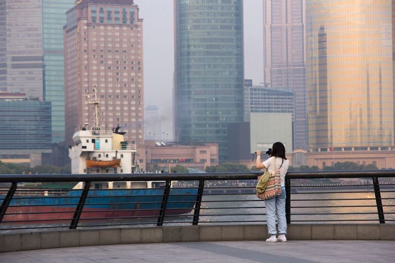 Shanghai China Streetphotography The Street Photographer - 2015 EyeEm Awards Architecture Skyscrapers Pudong Pastel Power