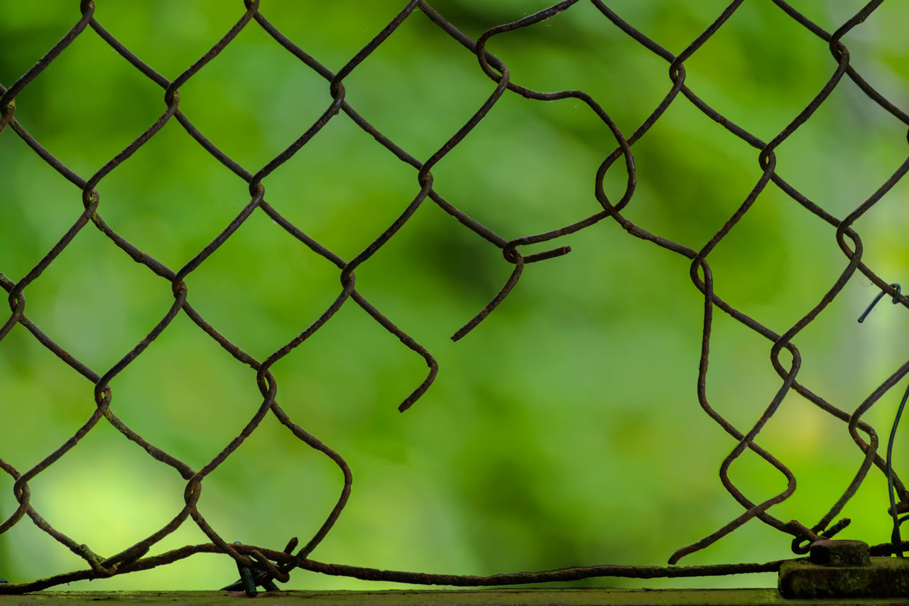 Chainlink Fence Close-up Day Fence Focus On Foreground Green Color Hole Hole In Fence Metal No People Outdoors Protection Ripped Safety Security Silhouette