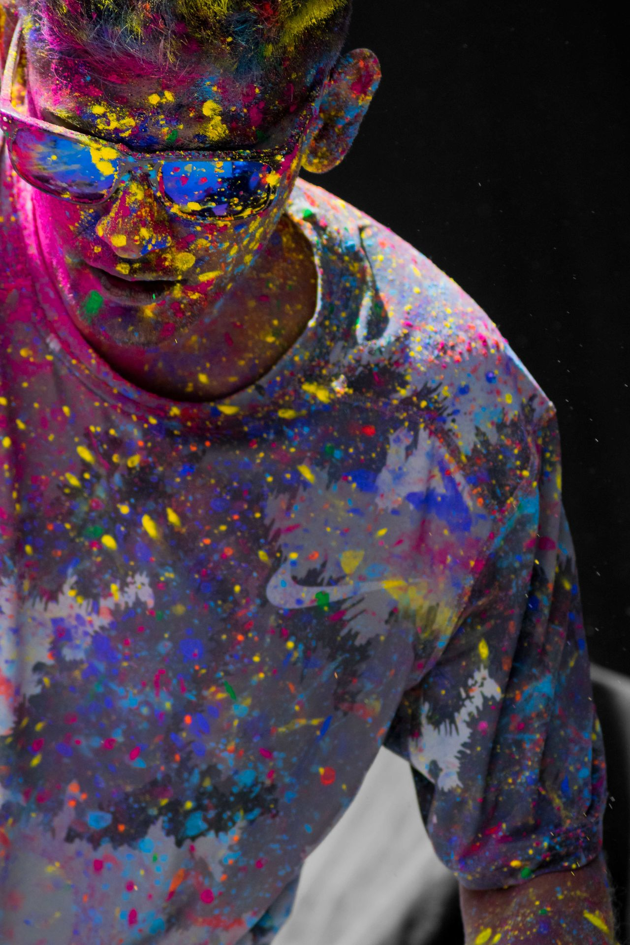 Holi is a special time of year to remember those who are close to our hearts with splashing colors! ADK Black Background Close-up Day Holi Colors Holi Festival Holi Festival Of Colours Holi Powder Indoors  Malaysia Truly Asia Multi Colored Oil Spill One Person Paint People Real People
