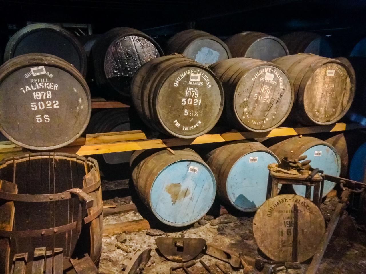 Oak Barrel, Talisker Distillery, Carbost, Isle of Skye, Scotland Barrel Close-up Day Indoors  Large Group Of Objects Metal No People Oak Oak Barrel Oak Barrels Scotland Scotland 💕 Talisker Talisker Distillery Taliskerwhiskey Text Whisky