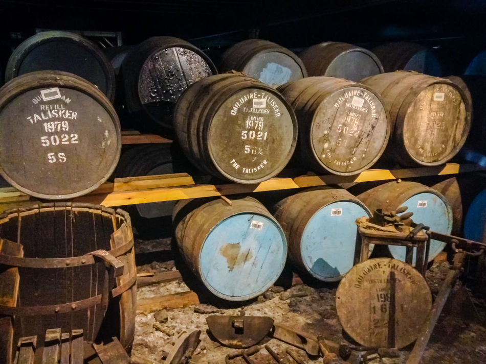 Oak Barrel, Talisker Distillery, Carbost, Isle of Skye, Scotland Barrel Close-up Day Indoors  Large Group Of Objects Metal No People Oak Oak Barrel Oak Barrels Scotland Scotland 💕 Talisker Talisker Distillery Taliskerwhiskey Text Whisky