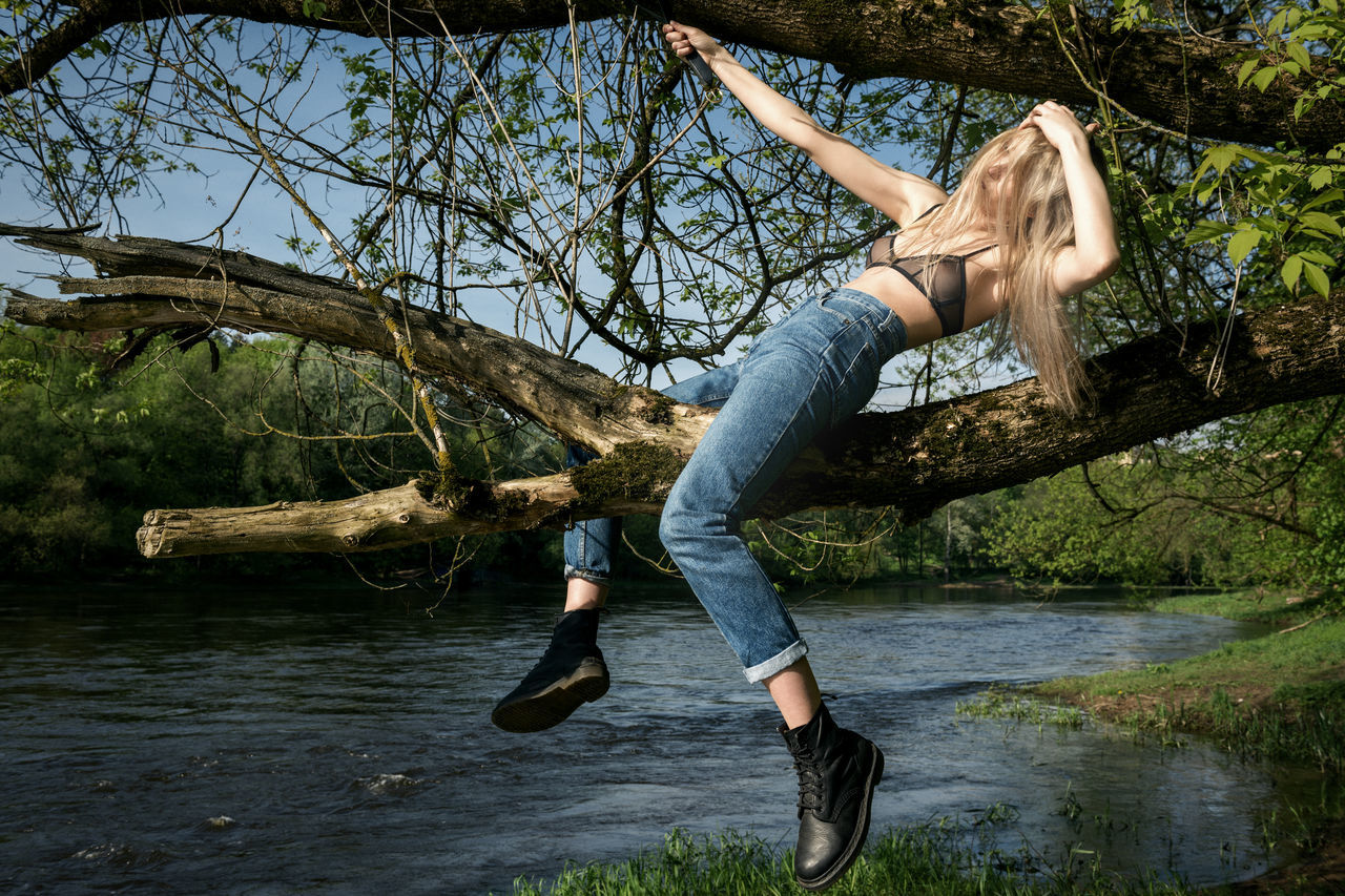 Wild Rider Blonde Blue Jeans Blue Sky Branches Girl Green Linas Was Here Model Nature River Summer Summer Water