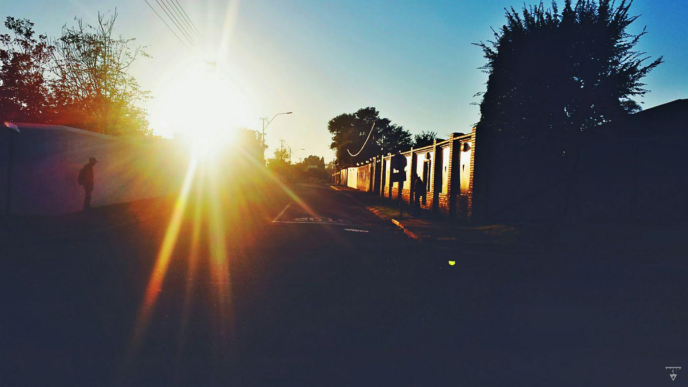 Street sun road blue