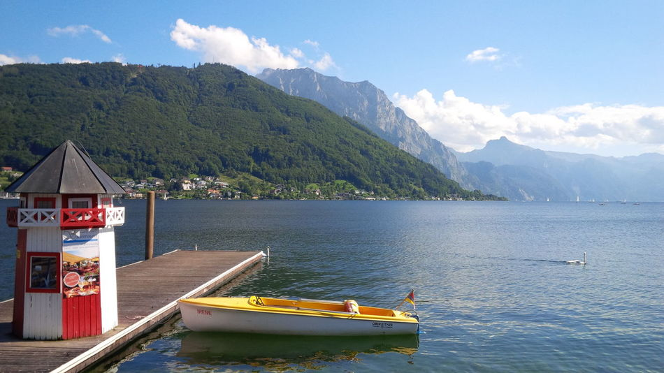 Austria Beauty In Nature Blackberryphoto Blackberryq10 Blue Boat Calm Gmunden Idyllic Lake Landscape Mountain Water