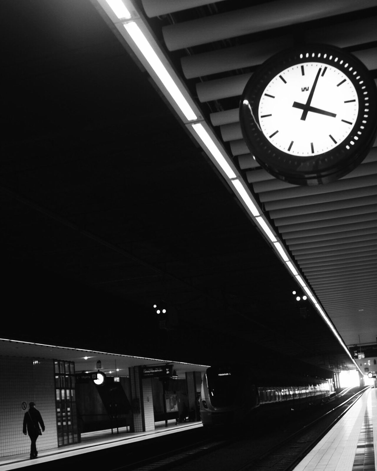 Clock Illuminated Railroad Station Public Transportation Transportation Low Angle View City Blackandwhite Black And White Bw_collection Street Photography