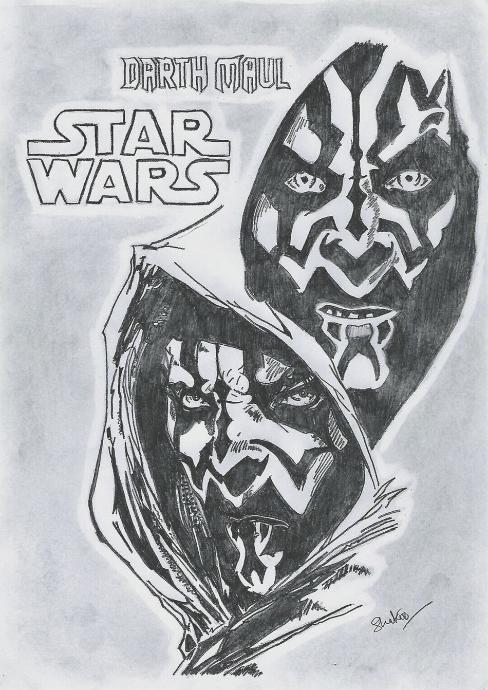 Paper Drawing - Art Product Black And White Evil Doodle Star Wars Darth Maul Sith Pencil Drawing Pencil Sketch