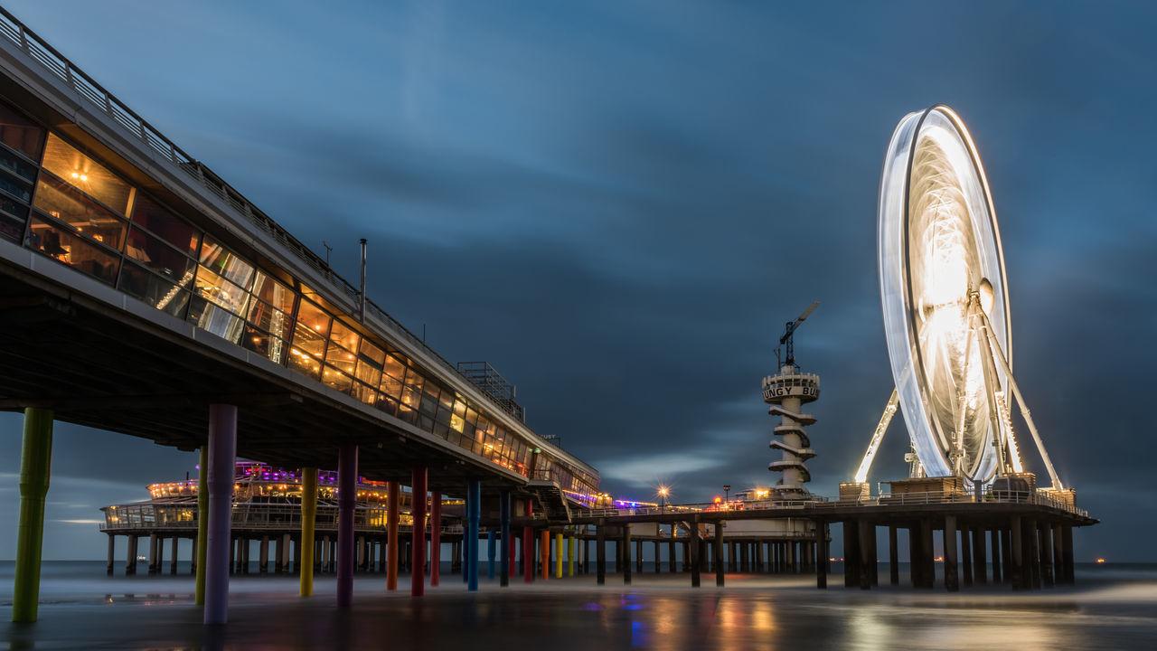 Architecture Bridge - Man Made Structure Dutch Landscapes Ferris Wheel At Night Long Exposure Night Scheveningen Pier Travel Destinations First Eyeem Photo